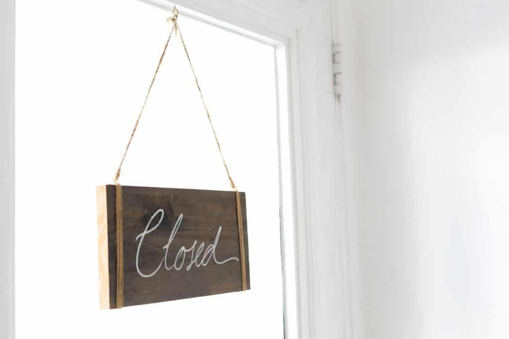 Store Closed Sign - Main reason startups fail