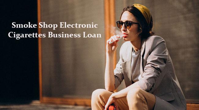 Woman smoking an electronic cigarette in front of a smoke shop