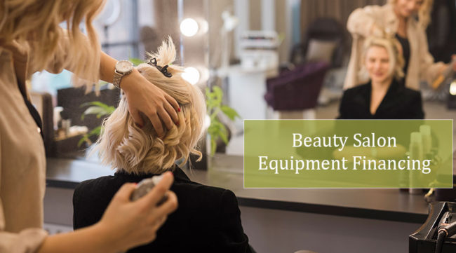 Hair dresser styling customers hair on new beauty salon equipment