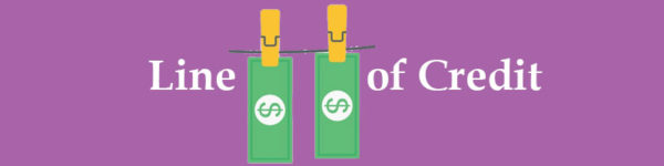 Money hanging on a clothesline representing a line of credit