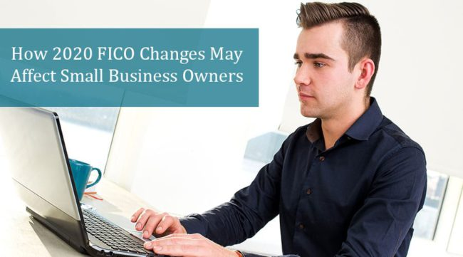 Man at computer viewing FICO changes impacting small business owners