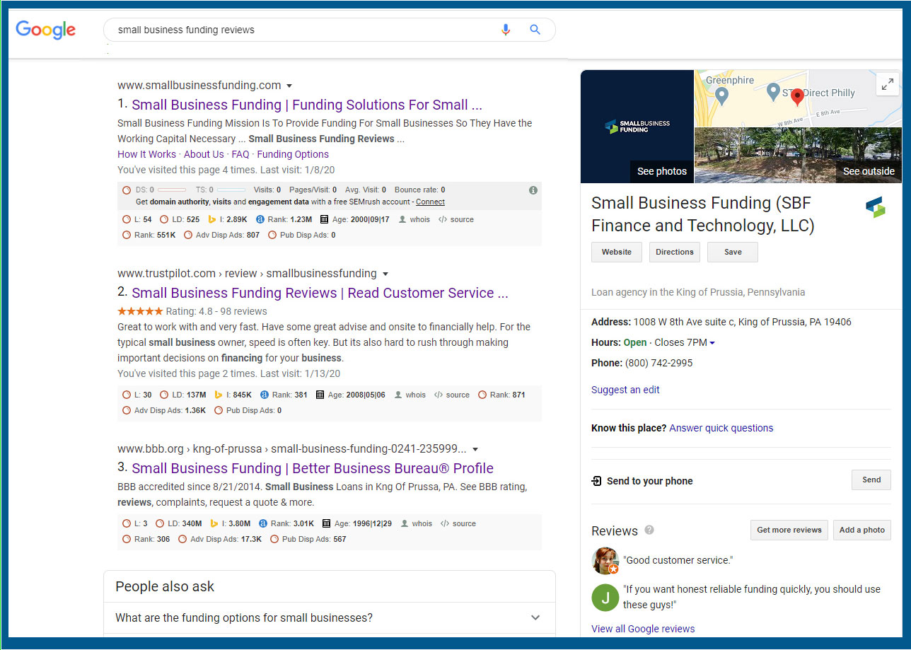 Screen shot for Google search on Small Business Funding reviews