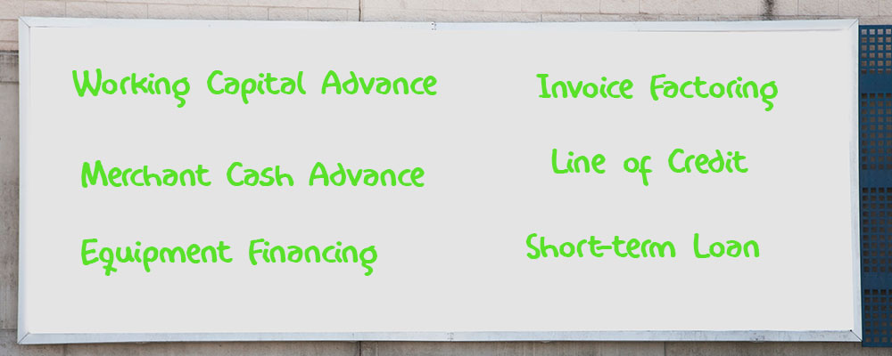 whiteboard listing the different types of small business loans with bad credit