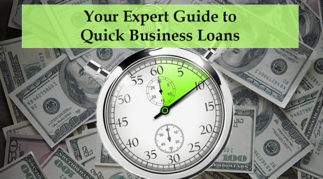 Clock in front of cash showing a quick business loan