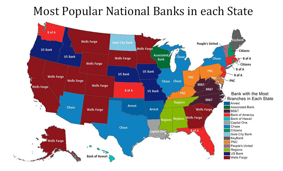Map of the USA showing most popular banks by each State