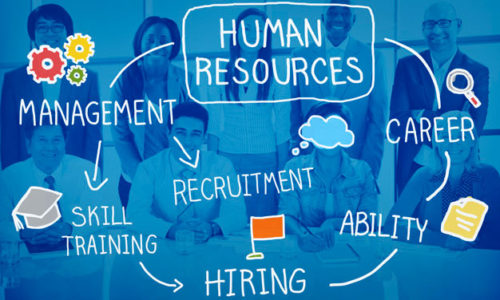Group of new hires over backdrop of hiring best practices