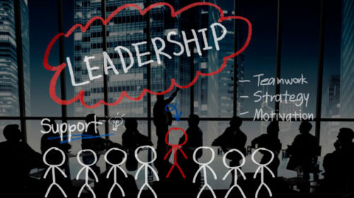 Business owner presenting the value of strong leadership